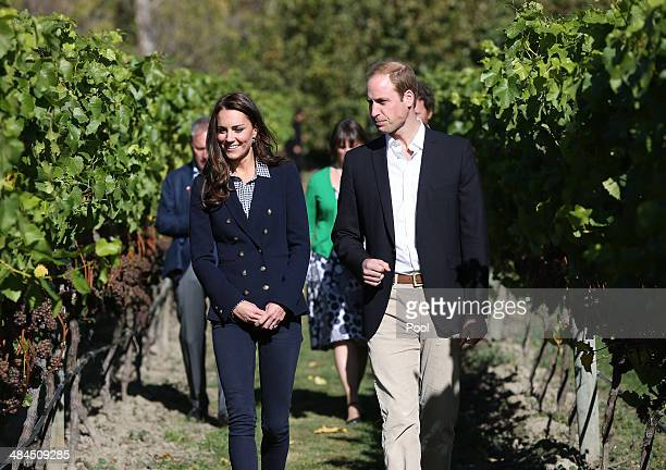 Catherine Duchess of Cambridge and Prince William Duke of Cambridge visit the Amisfield Winery on April 13 2014 in Queenstown New Zealand The Duke...