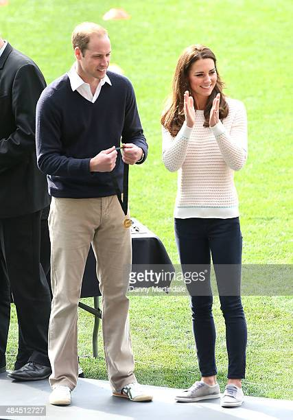 Catherine Duchess of Cambridge and Prince William Duke of Cambridge attend a Rippa Rugby tornement at Forsyth Barr Stadium on April 13 2014 in...