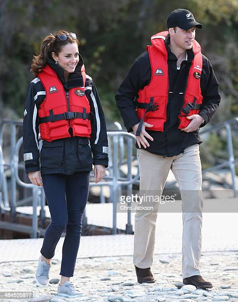 Catherine Duchess of Cambridge and Prince William Duke of Cambridge disembark the Shotover Jet on the Shotover River on April 13 2014 in Queenstown...
