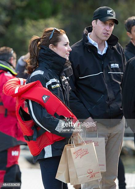 Catherine Duchess of Cambridge and Prince William Duke of Cambridge leave after their ride on the Shotover Jet on the Shotover River on April 13 2014...