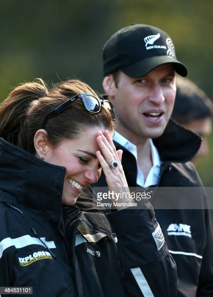 Catherine Duchess of Cambridge and Prince William Duke of Cambridge have a joke during there visit to the Shotover Jet on the Shotover River on April...