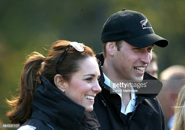 Catherine Duchess of Cambridge and Prince William Duke of Cambridge are seen during a visit to the Shotover Jet on the Shotover River on April 13...