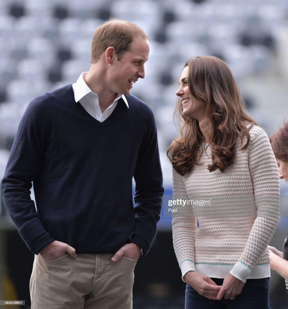 Catherine, Duchess of Cambridge and Prince William, Duke of Cambridge watch 'Rippa Rugby' in the Forstyth Barr Stadium on day 7 of a Royal Tour to New Zealand on April 13, 2014 in Dunedin, New Zealand. The Duke and Duchess of Cambridge are on a three-week tour of Australia and New Zealand, the first official trip overseas with their son, Prince George of Cambridge.