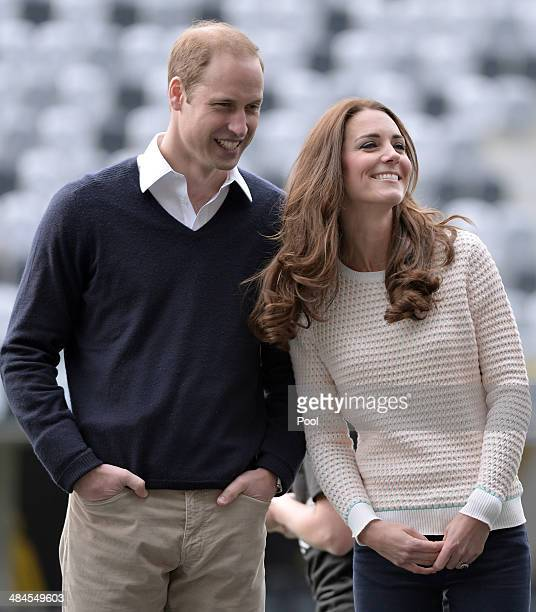 Catherine, Duchess of Cambridge and Prince William, Duke of Cambridge watch 'Rippa Rugby' in the Forstyth Barr Stadium on day 7 of a Royal Tour to...