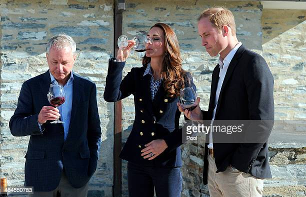 Catherine Duchess of Cambridge and Prince William Duke of Cambridge take part in wine tasting with with the winery's coowner John Darby during a...