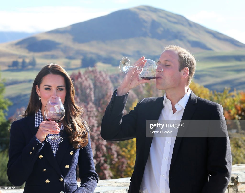 Catherine Duchess of Cambridge and Prince William, Duke of Cambridge sample red wine as the visit Otago Wines at Amisfield winery on April 13, 2014 in Queenstown, New Zealand. The Duke and Duchess of Cambridge are on a three-week tour of Australia and New Zealand, the first official trip overseas with their son, Prince George of Cambridge.