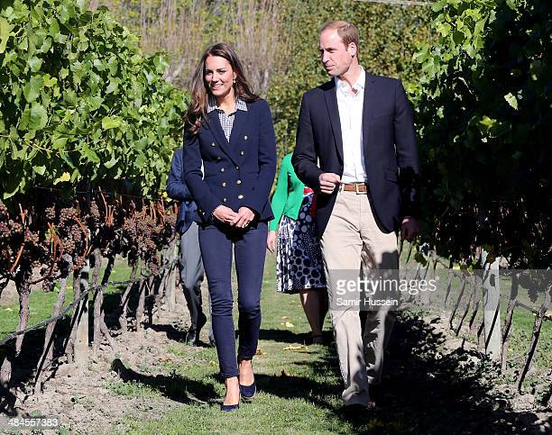 Catherine Duchess of Cambridge and Prince William, Duke of Cambridge visit Otago Wines at Amisfield winery on April 13, 2014 in Queenstown, New...