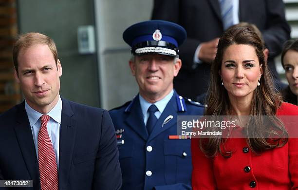 Catherine Duchess of Cambridge and Prince William Duke of Cambridge attend formal welcome ceremony from Ngai Tahu at the City Council building on...