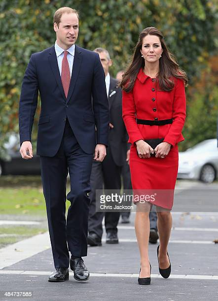 Catherine Duchess of Cambridge and Prince William Duke of Cambridge arrive to visit the Botanical Gardens on April 14 2014 in Christchurch New...