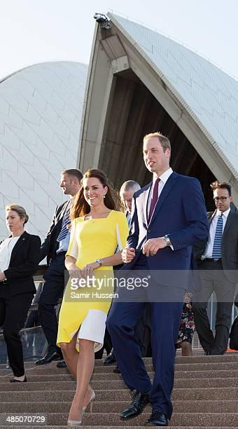 Catherine Duchess of Cambridge and Prince William Duke of Cambridge visit the Sydney Opera House on April 16 2014 in Sydney Australia The Duke and...
