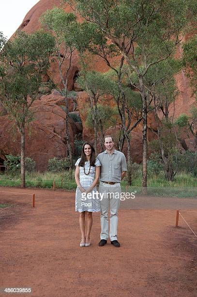 Catherine Duchess of Cambridge and Prince William Duke of Cambridge pose for a picture at the Kuniya walk at Uluru on April 22 2014 in Ayers Rock...