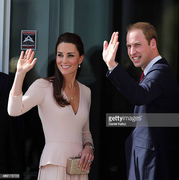 Catherine Duchess of Cambridge and Prince William Duke of Cambridge wave to spectators outside the Playford Civic Centre on April 23 2014 in Adelaide...