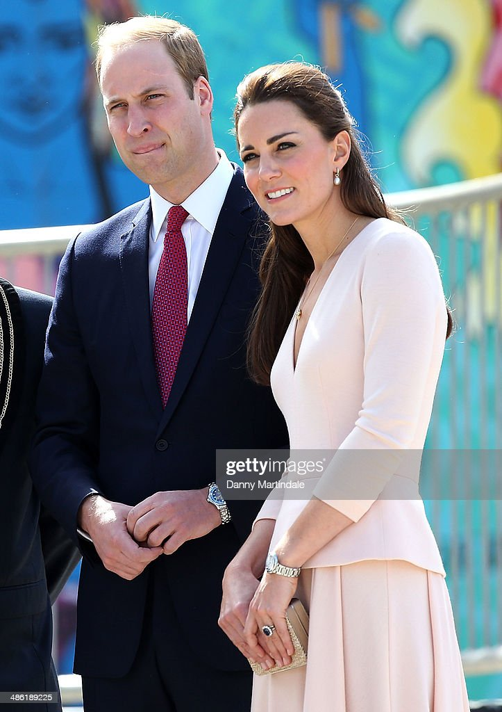 Catherine, Duchess of Cambridge and Prince William, Duke of Cambridge are seen visiting a skate park in Elizabeth on April 23, 2014 in Adelaide, Australia. The Duke and Duchess of Cambridge are on a three-week tour of Australia and New Zealand, the first official trip overseas with their son, Prince George of Cambridge.
