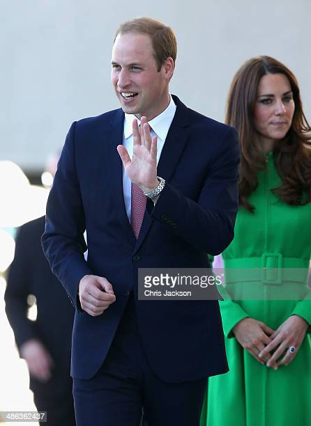 Catherine Duchess of Cambridge and Prince William Duke of Cambridge arrive at the Portrait Gallery on April 24 2014 in Canberra Australia The Duke...