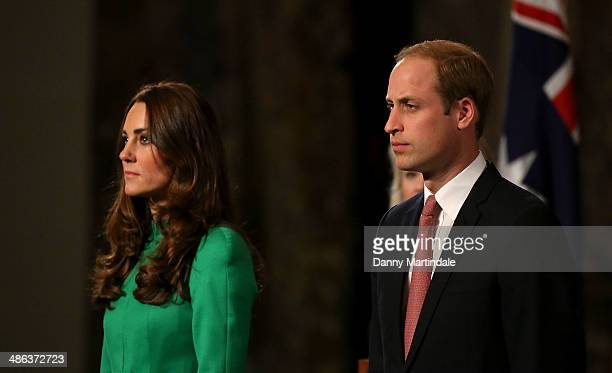 Catherine Duchess of Cambridge and Prince William Duke of Cambridge look on at the Australian Parliament on April 24 2014 in Canberra Australia The...