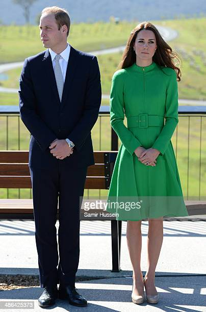 Catherine Duchess of Cambridge and Prince William Duke of Cambridge visit the National Arboretum on April 24 2014 in Canberra Australia The Duke and...
