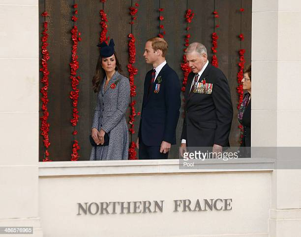 Catherine, Duchess of Cambridge and Prince William, Duke of Cambridge walk along the poppy flower-lined World War I Wall of Remembrance with Ken...