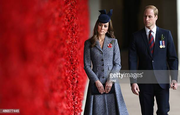 Catherine Duchess of Cambridge and Prince William Duke of Cambridge walk along the World War I Wall of Remembrance during their visit to the...