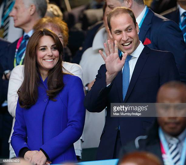 Catherine Duchess of Cambridge and Prince William Duke of Cambridge attend the Opening Ceremony and first match of the Rugby World Cup 2015 between...