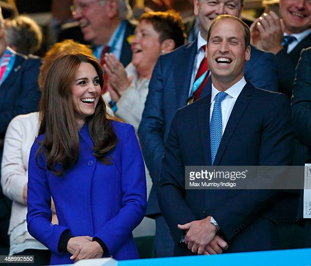 Catherine, Duchess of Cambridge and Prince William, Duke of Cambridge attend the Opening Ceremony and first match of the Rugby World Cup 2015 between...