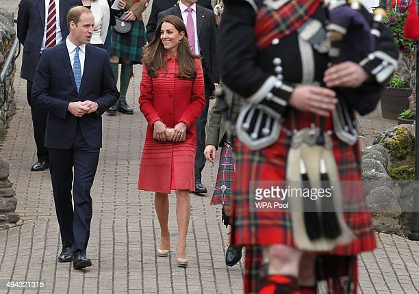 Catherine Duchess of Cambridge and Prince William Duke of Cambridge during a tour of The Famous Grouse Distillery on May 29 2014 in Crieff Scotland...