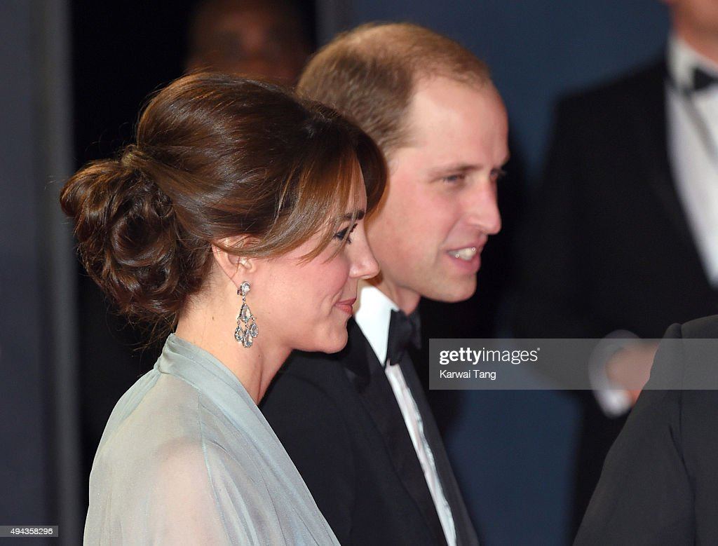 Catherine, Duchess of Cambridge and Prince William, Duke of Cambridge attend the Royal Film Performance of 'Spectre' at the Royal Albert Hall on October 26, 2015 in London, England.