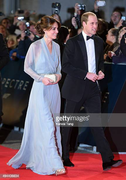 """Catherine, Duchess of Cambridge and Prince William, Duke of Cambridge attend the Royal Film Performance of """"Spectre"""" at the Royal Albert Hall on..."""