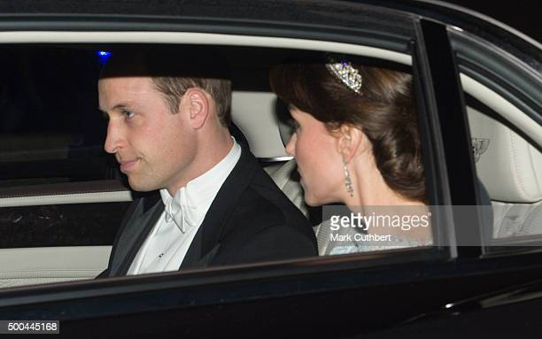 Catherine Duchess of Cambridge and Prince William Duke of Cambridge attend the Diplomatic Reception at Buckingham Palace on December 8 2015 in London...