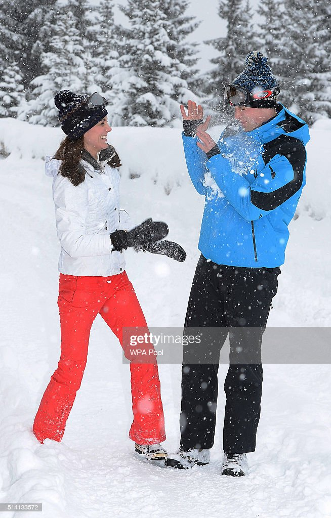 Catherine, Duchess of Cambridge and Prince William, Duke of Cambridge enjoy a short private skiing break on March 3, 2016 in the French Alps, France. (TERMS OF RELEASE - News editorial use only - it being acknowledged that news editorial use includes newspapers, newspaper supplements, editorial websites, books, broadcast news media and magazines, but not (by way of example) calendars or posters.)