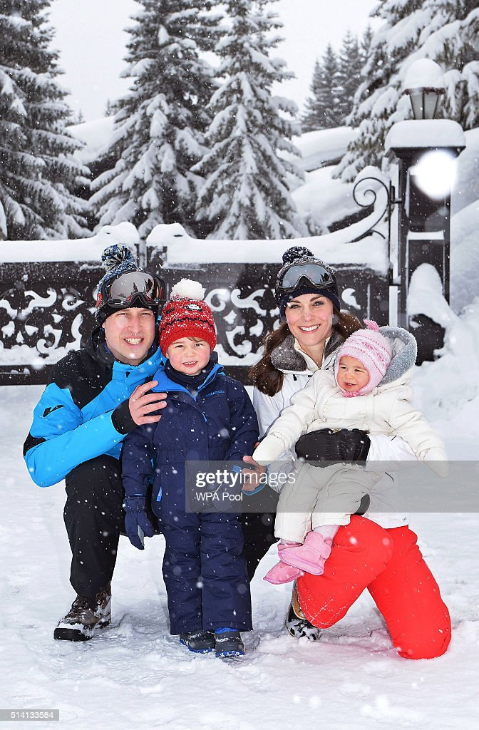 Catherine, Duchess of Cambridge and Prince William, Duke of Cambridge, with their children, Princess Charlotte and Prince George, enjoy a short private skiing break on March 3, 2016 in the French Alps, France. (TERMS OF RELEASE - News editorial use only - it being acknowledged that news editorial use includes newspapers, newspaper supplements, editorial websites, books, broadcast news media and magazines, but not (by way of example) calendars or posters.)