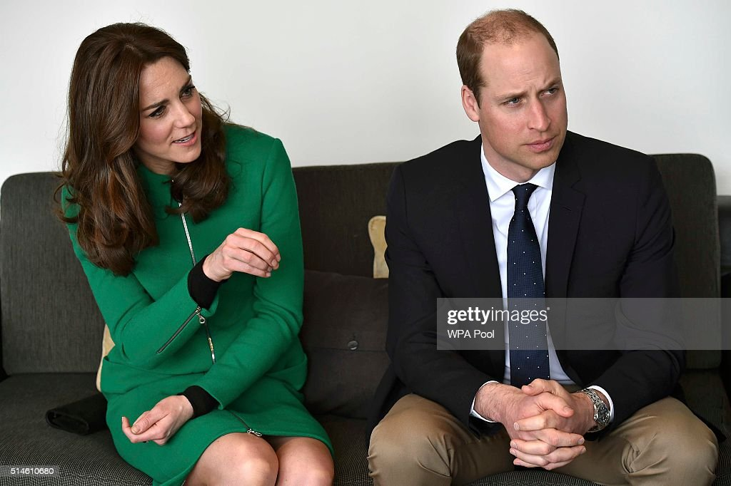 Catherine, Duchess of Cambridge and Prince William, Duke of Cambridge speak to former patients during their visit to St Thomas' Hospital on March 10, 2016 in London, England.