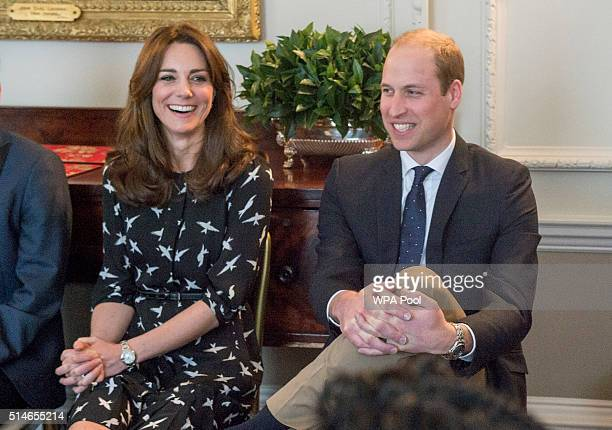 Catherine Duchess of Cambridge and Prince William Duke of Cambridge met with Jonny Benjamin and Neil Laybourn at Kensington Palace where they dropped...