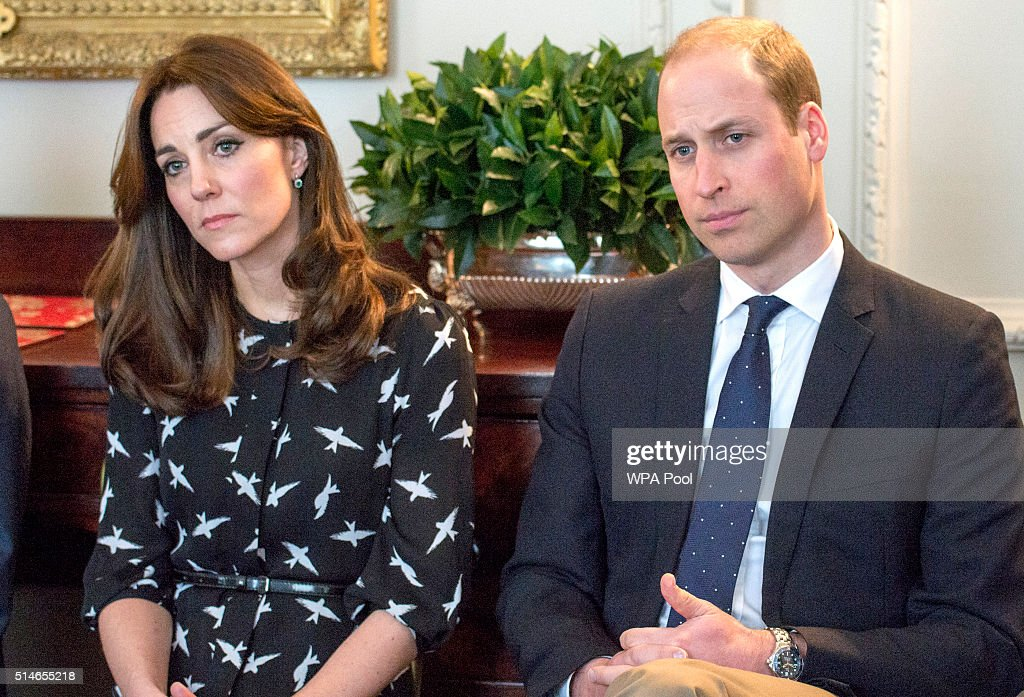 Catherine, Duchess of Cambridge and Prince William, Duke of Cambridge met with Jonny Benjamin and Neil Laybourn at Kensington Palace where they dropped in on a screening of a documentary about Jonny's experience and the #FindMike campaign on March 10, 2016 in London, United Kingdom. Jonny regularly attends screenings with young people as a way to encourage open discussion of mental health issues. Around 20 young people from a South London school watched the screening at Kensington Palace and then took part in a discussion, led by Jonny, Neil and Rethink Mental Illness. The children taking part in the session are from a school where Jonny has previously delivered his ThinkWell project.