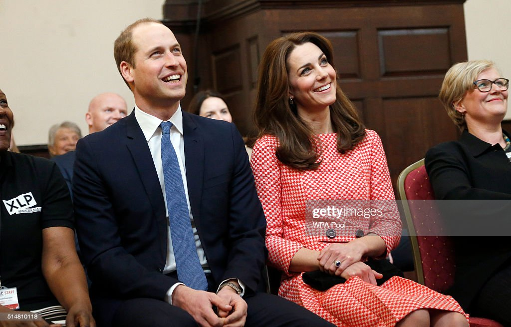 Catherine, Duchess of Cambridge and Prince William, Duke of Cambridge visit the mentoring programme of the XLP project at London Wall on March 11, 2016 in London, England. XLP supports young people who are facing emotional, behavioural and relational challenges. XL-Mentoring programme since 2008.