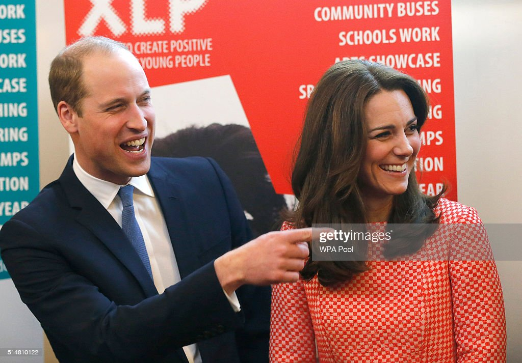 Catherine, Duchess of Cambridge and Prince William, Duke of Cambridge laugh as they visit the mentoring programme of the XLP project at London Wall on March 11, 2016 in London, England. XLP supports young people who are facing emotional, behavioural and relational challenges. XL-Mentoring programme since 2008.