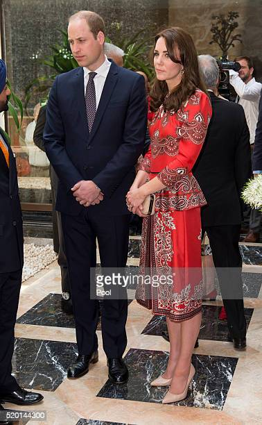 Catherine Duchess of Cambridge and Prince William Duke of Cambridge lay a wreath at Taj Hotel scene of Mumbai terror attacks on April 10 2016 in...
