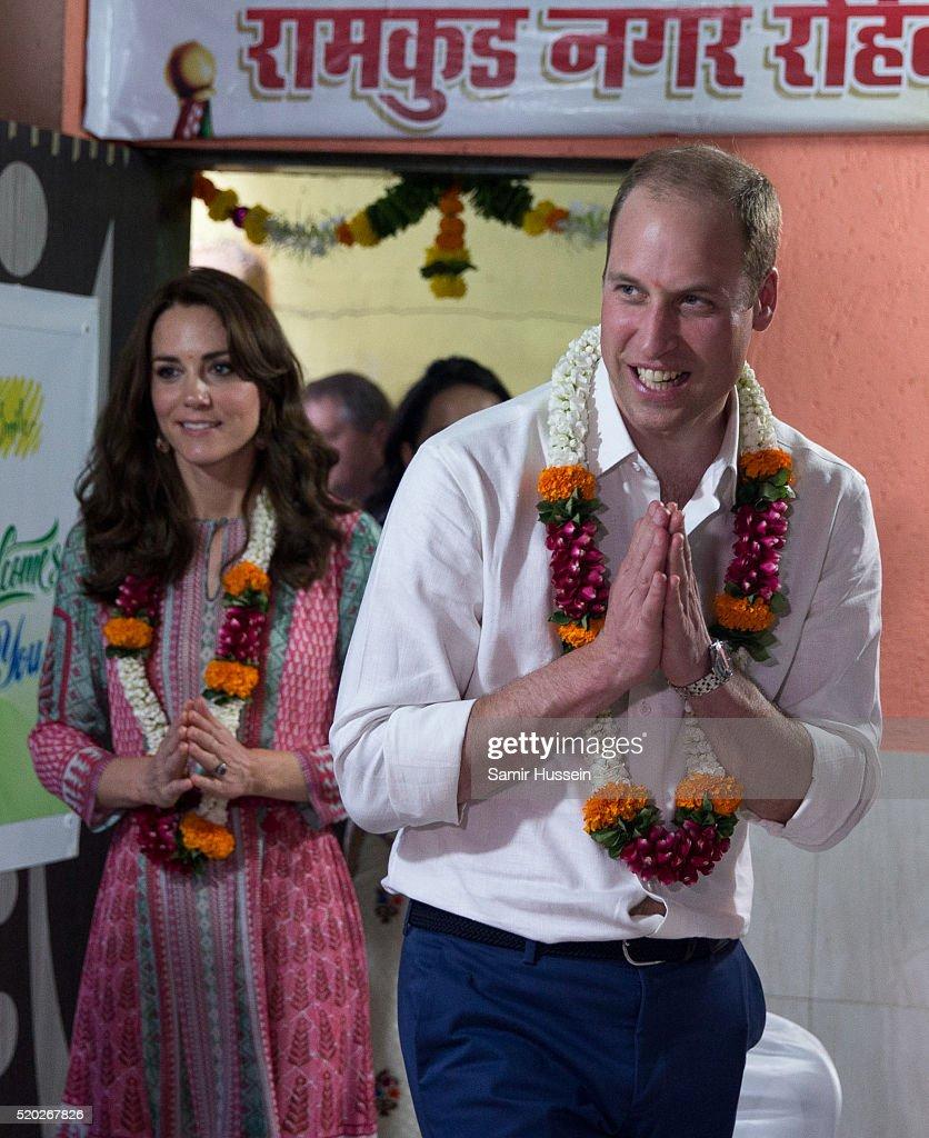 Catherine, Duchess of Cambridge and Prince William, Duke of Cambridge visit the Banganga community on April 10, 2016 in Mumbai, India.