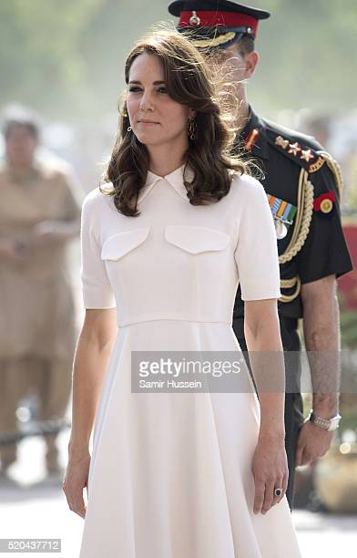 Catherine Duchess of Cambridge and Prince William Duke of Cambridge visit India Gate Memorial where they laid a wreath to honour the soldiers from...