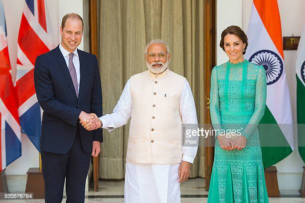 Catherine Duchess of Cambridge and Prince William Duke of Cambridge meet Prime Minister of India Narenda Modi in New Delhi's Hyderabad House on April...