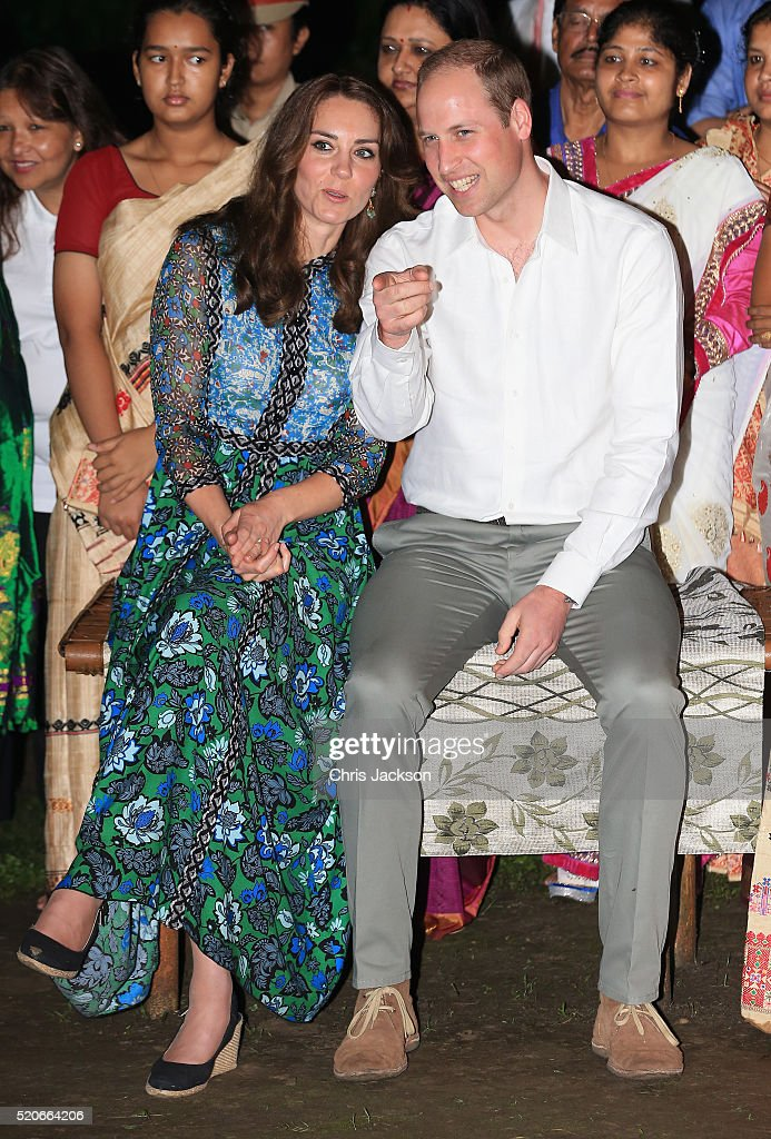 Catherine, Duchess of Cambridge and Prince William, Duke of Cambridge watch dancing by the fireside during a Bihu Festival Celebrationat Diphlu River Lodge on day 3 of the royal visit to India and Bhutan on April 12, 2016 in Kaziranga, India. The Duke and Duchess of Cambridge are on a week-long tour of India and Bhutan taking in Mumbai, Delhi, Assam, Bhutan and Agra.