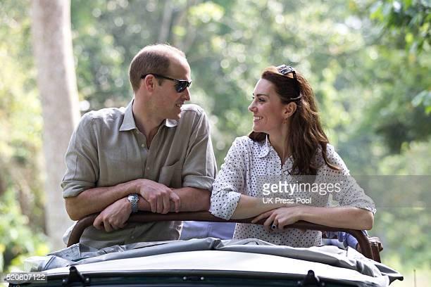 Catherine, Duchess of Cambridge and Prince William, Duke of Cambridge ride a car during a Game drive at Kaziranga National Park at Kaziranga National...