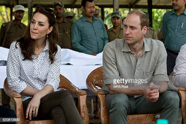 Catherine Duchess of Cambridge and Prince William Duke of Cambridge meet with rangers on a Game drive at Kaziranga National Park at Kaziranga...