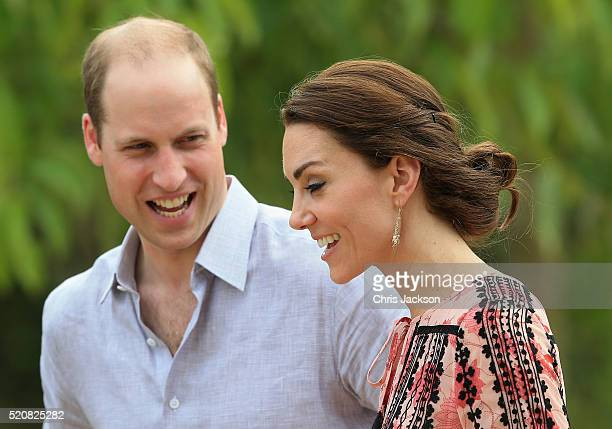 Catherine Duchess of Cambridge and Prince William Duke of Cambridge visit the Elephant Family Discovery Centre in Kaziranga National Park on day 4 of...