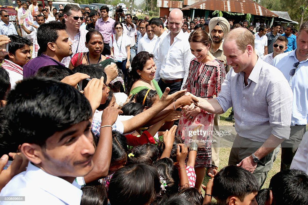 Catherine, Duchess of Cambridge and Prince William, Duke of Cambridge visit Pan Bari agricultural village in Kaziranga National Park on day 4 of the royal visit to India and Bhutan on April 13, 2016 in Kaziranga, India. The Duke and Duchess of Cambridge are on a week-long tour of India and Bhutan taking in Mumbai, Delhi, Assam, Bhutan and Agra.