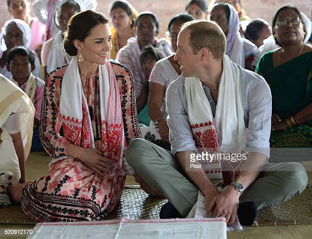 Catherine, Duchess of Cambridge and Prince William, Duke of Cambridge visit Pan Bari Village in the Kaziranga National Park, meet villagers, look at...