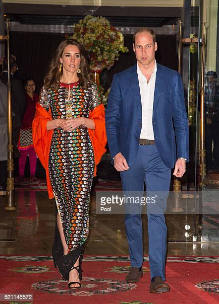 Catherine Duchess of Cambridge and Prince William Duke of Cambridge leave the Taj Tashi hotel to attend a dinner with King Jigme Khesar Namgyel...