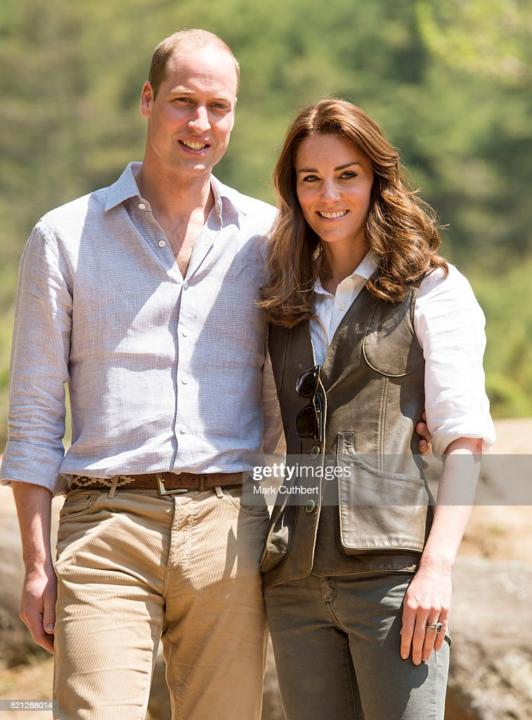 Catherine, Duchess of Cambridge and Prince William, Duke of Cambridge at the start of their hike to Paro Taktsang, the Tiger's Nest monastery on April 15, 2016 in Paro, Bhutan.