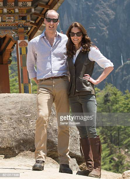 Catherine Duchess of Cambridge and Prince William Duke of Cambridge pose together as they hike to Paro Taktsang the Tiger's Nest monastery on April...