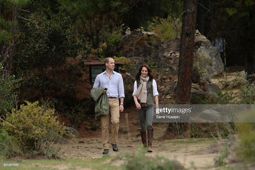 Catherine, Duchess of Cambridge and Prince William, Duke of Cambridge hike to Paro Taktsang, the Tiger's Nest monastery on April 15, 2016 in Paro, Bhutan.