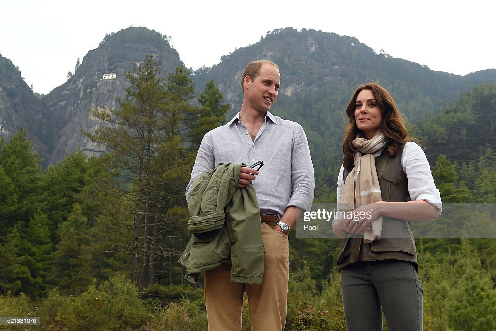 Catherine, Duchess of Cambridge and Prince William, Duke of Cambridge after their trek to the Tiger's Nest Monastery during a visit to Bhutan on the 15th April 2016 in Thimphu, Bhutan. The Royal couple are visiting Bhutan as part of a week long visit to India and Bhutan that has taken in cities such as Mumbai, Delhi, Kaziranga, Bhutan and Agra.
